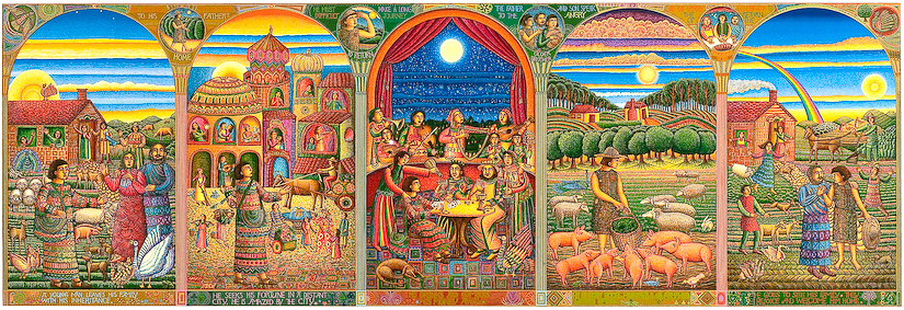 "The John August Swanson serigraph ""Story of the Prodigal Son"" is for sale from Eyekons Gallery. The serigraph ""Story of the Prodigal Son"" by John Swanson beautifully illustrates Jesus parable from Luke 15:11-32. Swanson portrays the story of the Prodigal Son in five panels, each depicting a stage in the Prodigals journey. It portrays themes of greed & regret, sin & redemption, jealousy & acceptance and most importantly, compassionate forgiveness. For, as the father said, ""this son of mine was dead and is alive again; he was lost and is found."" Eyekons is a source for creative, contemporary Christian art."