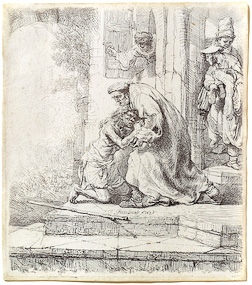 The Return of the Prodigal Son etching by Rembrandt is one of 48 pieces of original art from The Larry and Mary Gerbens Collection - a collected body of original art inspired by the parable of the Prodigal Son. The Gerbens Collection is featured in our book The Father & His Two Sons - The Art of Forgiveness. The portfolio of original art collected & commissioned by Larry & Mary Gerbens is offered for your viewing pleasure. These images inspired by the Prodigal Son are available as a CD Collection of Church Stock Images, fine art giclee prints, greeting cards and original art from Eyekons.