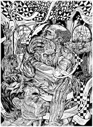The linoleum print The Prodigal Return: Your Past May Be Stained But Your Future is Untouched by African American artist Steve Prince is the final image in the Steve Prince Prodigal Trilogy. The linocut shows the Prodigal Son returning to the forgiving embrace of his father. Prayers are offered as his sins are forgiven and he is wrapped in the love of God, his father and his family. The wood cut - linocut print The Prodigal Return by Steve Prince is for sale from Eyekons Gallery, a source for Christian Art - Religious Art - Biblical Art.