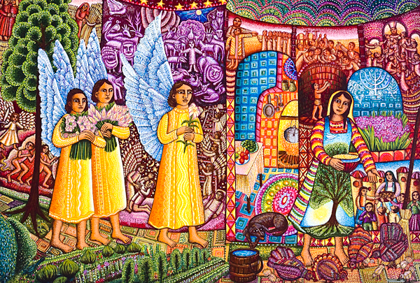 A Visit - Gabriels Message Slideshow, featuring the art of John August Swanson, available at Eyekons Church Image Bank as bulletin covers, powerpoints and background images, and Eyekons Stock Image Bank
