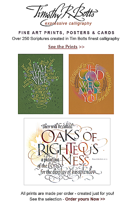 Tim Botts Calligraphy Giclee Prints available at Eyekons