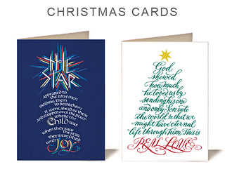 Timothy R. Botts - New Christmas Cards. The Bible verses are painted in Tims expressive calligraphic style and provide unique biblical images for Christmas.