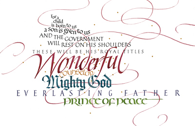 Isaiah 9, by calligrapher Tim Botts, Giclee Print available at Eyekons