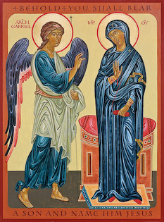 "The icon Annunciation by Nicholas Markell portrays the Annunciation to Mary where the Archangel Gabriel appears and tells Mary, ""Behold, you shall be a son and name him Jesus,"" as written in Luke 1:26-38"