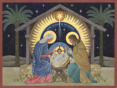 The icon Beuronese Nativity by Nicholas Markell is available as a stock image from Eyekons Stock Image Bank. Its a beautiful stock image for Christmas and Advent.