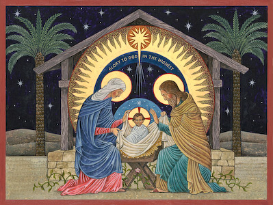 The icon Beuronese Nativity by Nicholas Markell is a beautiful Christmas portrayal of the birth of Christ done in the muted, tranquil and mysterious coloring of the Beuronese style. Its a wonderful stock image for Christmas and Advent.