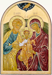 The icon Holy Family by Nicholas Markell is an iconic Nativity of Joseph, Mary and the young Jesus in Orthodox splendor with glowing nimbus halos.