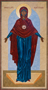The icon Immaculate Heart by Nicholas Markell portrays Mary with her heart radiating and her hands wide open. The Immaculate Heart refers to the interior life of Mary, her joys and sorrows, her virtues and hidden perfections, her virginal love for God and her compassionate love for all people.
