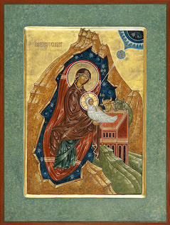 The icon Nativity by Nicolas Markell is done in the Russian orthodox style showing Mary and the bundled baby Jesus in a cave surrounded by the stars of eternity