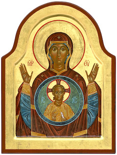 The icon Our Lady of the Sign by Nicholas Markell presents the Theotokos, the Mother of God with her hands raised in the orans position, with the image of the Child Jesus depicted within a round aureole upon her breast.