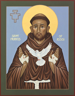 The icon of Saint Francis of Assisi by Nicholas Markell portrays St. Francis with the stigmata on his open, bandaged hands releasing a white dove in flight. The strong composition and beautiful colors present a wonderful portrait of Saint Francis, the founding father of the Franciscan Order.