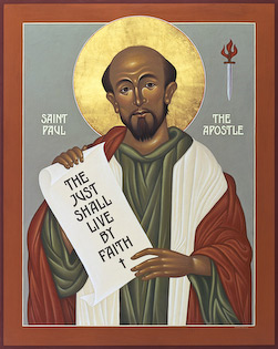 "The icon of St. Paul by Nicholas Markell is available as a stock image from Eyekons Stock Image Bank and Church Image Bank. Saint Paul the Apostle is portrayed with a scroll of his famous phrase, ""The just shall live by faith,"" from Romans 1:17."