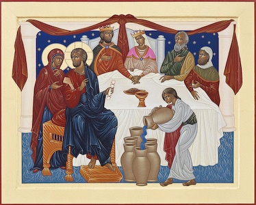 The icon of the Wedding Feast at Cana by Nicholas Markell portrays the story of the Wedding Feast at Cana where the wine for the wedding celebration has run out and Jesus then turned the water into wine as written in John 2: 1-11.