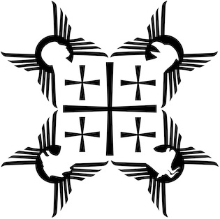 The graphic illustration Evangelists - 5 Crosses by Nicholas Markell portrays Matthew, Mark, Luke and John, the four authors of the Gospels of the New Testament by their symbolic tetramorphs as described in the visions of the prophet Ezekiael in Ezekial 1: 4-10 and John the Evanagelist in Revelation 4: 6-7. Matthew is represented as a winged young man, Mark as a winged lion, Luke as a winged ox and John as an eagle. Evangelists - 5 Crosses is great religious image for church bulletin covers, Christian Powerpoint and sermon illustrations.