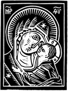 The woodcut Mother of God by Nicholas Markell is a classic iconic portrayal of Mary and Jesus done in the black and white medium of the wood cut. Mother of God a great Christmas and Advent stock image for church bulletin covers, Christian Powerpoint and sermon illustrations.