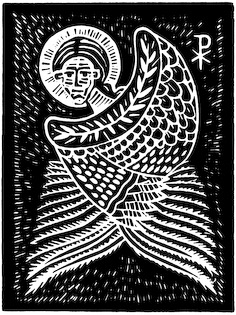 The woodcut Paraclete by Nicholas Markell is a black and white wood cut of the third person of the Trinity, the Holy Spirit. Jesus uses the term Paraclete in John 14: 16 and 26 to indicate the promised gift of the Spirit as a consoler and advocate who would continue his mission among his disciples. Parclete is great religious image for church bulletin covers, Christian Powerpoint and sermon illustrations.