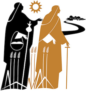 The graphic illustration of Naomi and Ruth by Nicholas Markell shows Naomi and Ruth returning to Naomis ancestral home Bethlehem as told in Ruth 1. Naomi and Ruth is great religious image for church bulletin covers, Christian Powerpoint and sermon illustrations.