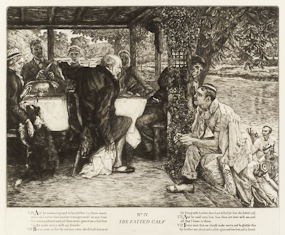 The etching of The Prodigal Son in Modern Life No 4: The Fatted Calf, by JJ Tissot is part of The Larry & Mary Gerbens Collection of Art inspired by the parable of the Prodigal Son. The JJ Tissot etching of The Prodigal Son in Modern Life No 4: The Fatted Calf, is featured in the book The Father & His Two Sons - The Art of Forgiveness