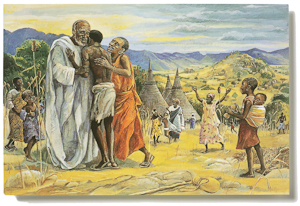 The postcard The Prodigal Son, by Jesus Mafa is part of The Larry & Mary Gerbens Collection of Art inspired by the parable of the Prodigal Son. The Jesus Mafa postcard The Prodigal Son, is featured in the book The Father & His Two Sons - The Art of Forgiveness