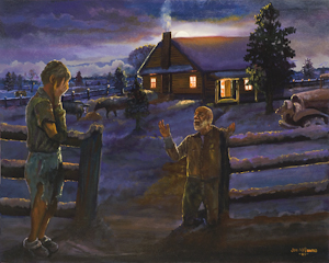 The painting Shelter from the Storm, by John McDonald is part of The Larry & Mary Gerbens Collection of Art inspired by the parable of the Prodigal Son. The John McDonald painting Shelter from the Storm, is featured in the book The Father & His Two Sons - The Art of Forgiveness