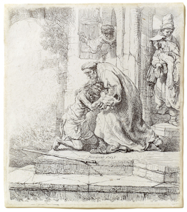 The etching of The Prodigal Son by Rembrandt is part of The Larry & Mary Gerbens Collection of Art inspired by the parable of the Prodigal Son. The Rembrandt etching of The Prodigal Son is featured in the book The Father & His Two Sons - The Art of Forgiveness