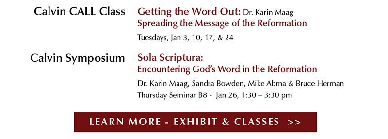 "Eyekons and Woodlawn CRC present ""Sola Scriptura – Biblical Text and Art"" – An Exhibit in three parts – Translating the Bible – Illuminating the Bible - Picturing the Bible - Woodlawn Ministry Center – Jan 4 – Feb 10, 2017 - Celebrating the 500th Anniversary of the Reformation and the 500th Anniversary of Martin Luther nailing his ""Ninety-Five Theses"" to the Castle Church doors in Wittenberg, Germany on October 31, 1517."