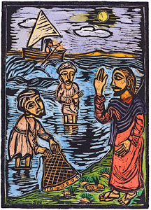 Calling of the Disciples, by Solomon Raj - Hand-colored Woodblock print is available as a stock image from Eyekons Stock Image Bank and Church Image Bank.
