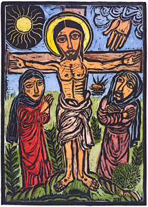 Crucifixion, by Solomon Raj - Hand-colored Woodblock print is available as a stock image from Eyekons Stock Image Bank and Church Image Bank.