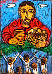 Bread from Heaven, by Solomon Raj - Hand-colored Woodblock print is available as a stock image from Eyekons Stock Image Bank and Church Image Bank.