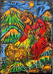 The Shepherd, by Solomon Raj - Hand-colored Woodblock print is available as a stock image from Eyekons Stock Image Bank and Church Image Bank.