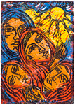 Gods Handmaids, by Solomon Raj - Hand-colored Woodblock print is available as a stock image from Eyekons Stock Image Bank and Church Image Bank.