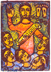 The Fourfold Bondage, by Solomon Raj - Hand-colored Woodblock print is available as a stock image from Eyekons Stock Image Bank and Church Image Bank.