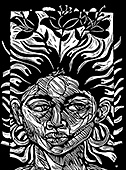 "The linoleum print ""Fertile Mind"" by African American artist Steve Prince shows a spirited woman growing flowers from her own fertile mind. The energized composition shows spirits rising from the rich realm of her imagination reaching out to the world around her. The linocut - woodcut ""Fertile Mind"" by Steve Prince is available as a stock image from Eyekons Stock Image Bank."