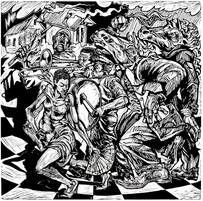 The linoleum print Flambeau by African American artist Steve Prince The wood cut - linocut print Kings, Flambeau by Steve Prince is for sale from Eyekons Gallery, a source for Christian Art – Religious Art – Biblical Art.