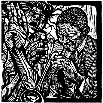 The linoleum print Soul Serenade by African American artist Steve Prince. The wood cut - linocut print Soul Serenade by Steve Prince is for sale from Eyekons Gallery, a source for Christian Art – Religious Art – Biblical Art.