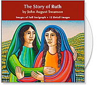 The Story of Ruth CD is a collection of images from the Story of Ruth serigraph by John August Swanson. The CD contains a full image and 12 detail images of the John Swanson serigraph Story of Ruth and is offered to churches for bulletin covers, sermon illustrations, Powerpoint images and Bible study. The Story of Ruth CD Collection by John Swanson creatively illustrates the story from the Book of Ruth of Naomi and Ruth and their journey from death and loss to hope and renewal.