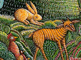 Psalm 23, detail of animals, by serigraph artist John August Swanson