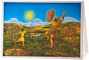 John August Swanson, David and Goliath Greeting Card, serigraph artist