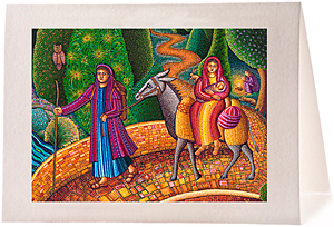 John August Swanson Journey to Egypt Christmas Card, from his serigraph Flight into Egypt inspired by Mary, Joseph & Jesus Escape to Eygpt as told in Matthew 2:13-18
