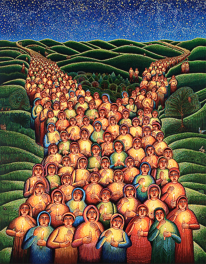 "The John August Swanson serigraph ""Festival of Lights"" is for sale from Eyekons Gallery. The serigraph ""Festival of Lights"" by John Swanson is a powerful image portraying an endless procession of children all carrying candles. John writes, ""This is a procession of children from every city and town. They gather together in an unending procession towards peace and nonviolence for all the children of the world."" Eyekons is a source for Christian art, religious art, biblical art and church art."