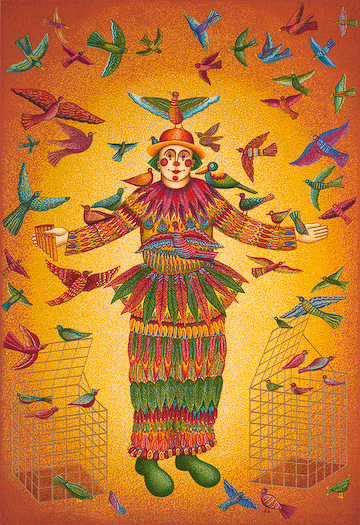 "The John August Swanson serigraph ""Papageno"" is for sale from Eyekons Gallery. The serigraph ""Papageno"" by John Swanson portrays the clown from Mozarts opera The Magic Flute. Joan Prefontaine writes, ""Papageno"" is a guileless bird-catcher with many foibles. His many weaknesses cause us to identify with him. ""Papageno"" is a clown of liberation, someone who frees our captured spirit-birds into worlds of greater promise."" Eyekons is a source for Christian art, religious art, biblical art and church art."
