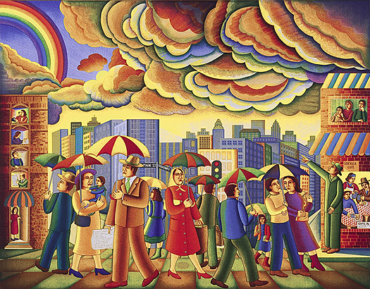The John August Swansons serigraph Rainbow City is for sale from Eyekons Gallery. Eyekons Gallery is a resource for Christian art, religious art, biblical art and church images.