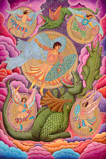 "The John August Swanson serigraph ""St. Michael and the Archangels"" is for sale from Eyekons Gallery. The serigraph ""St. Michael and the Archangels"" by John Swanson portrays Michael as a symbol of the divine presence that casts out the demonic forces of evil in our world. John writes, ""The symbolism of the Archangel battling demons has a power that goes deep into our psyche.  It helps us see our own efforts to grow as humans in overcoming ignorance, hatred, violence and despair."" Eyekons is a source for Christian art, religious art, biblical art and church art."
