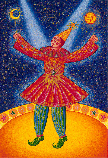 "The John August Swanson serigraph ""Star Clown"" is for sale from Eyekons Gallery. The serigraph ""Star Clown"" by John Swanson portrays a magical jester showered in twin beams of light. John Swanson writes, ""This clown is our shaman, innocent and filled with bliss. Like the artist, he stands between the dualities of this world. He straddles the Earth and the heavens - as a true healer, a channel of energy from the divine."" Eyekons is a source for Christian art, religious art, biblical art and church art."