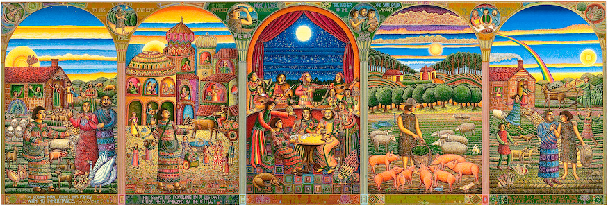 "The John August Swanson serigraph ""Story of the Prodigal Son"" is for sale from Eyekons Gallery. The serigraph ""Story of the Prodigal Son"" by John Swanson illustrates Jesus parable from Luke 15:11-32. John portrays the story of the Prodigal Son with five panels, each depicting a stage in the Prodigals journey. It explores the themes of greed and regret, sin and redemption, jealousy and acceptance and compassionate forgiveness. Eyekons is a source for Christian art, religious art, biblical art and church art."