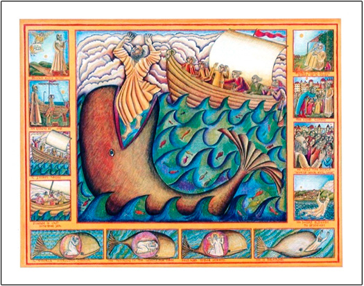 John August Swanson's poster of Jonah and the Whale wonderfully illustrates the story Jonah being eaten by the whale, spending three nights in its belly and then being tossed up on shore. Jonah then heeds God's call and goes to reform Nineveh.