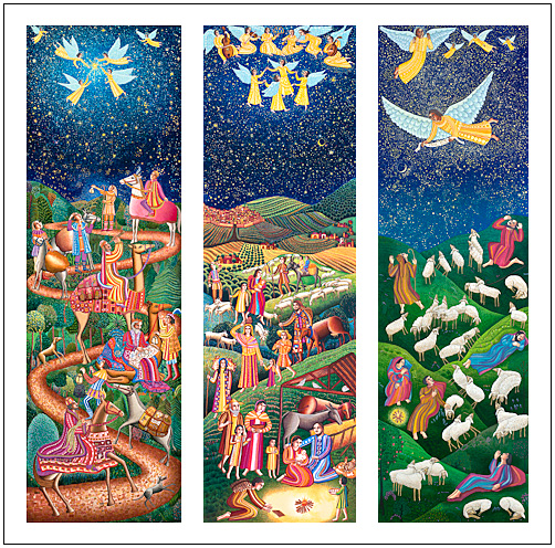 The Advent Triptych poster by John August Swanson for A Thrill of Hope DVD, features his serigraphs of Epiphany, Nativity and Shepherds and beautifully illustrates the Christmas story. The John August Swanson Advent poster is for sale from Eyekons Gallery, www.eyekons.com.
