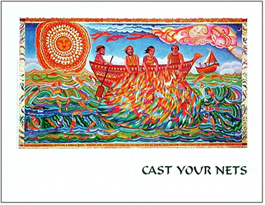 "The poster of Cast Your Nets by John August Swanson illustrates the story from Luke 5 when Jesus guided Simon and the fishermen to a truly miraculous catch of fish, calling his disciples to be ""fishers of men."" The John August Swanson poster of Cast Your Nets is for sale from Eyekons Gallery, www.eyekons.com."
