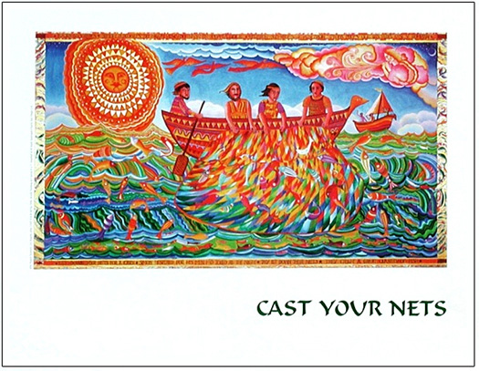 The poster of Cast Your Nets by John August Swanson illustrates the story from Luke 5 when Jesus guided Simon and the fishermen to a truly miraculous catch of fish, calling his disciples to be