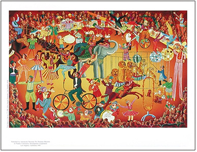 The poster Great Circus by John August Swanson is for sale from Eyekons Gallery. John Swanson presents a colorful portrayal of the magical events that fill the center ring of the Great Circus.